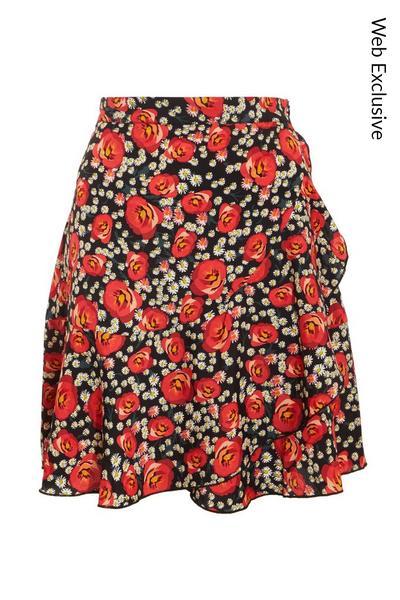 Black & Red Floral Mini Skirt